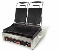 "Panini/Sandwich Grill, heavy duty cast steel double grill, (2) 7-1/4"" x 9"" grooved cooking surfaces, stainless steel finish, 240v/60/1-ph, 3.2 kw, NEMA 6-20P, cETLus, ETL (Cecilware)"