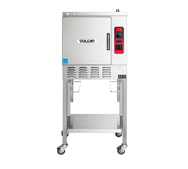 """Convection Steamer, countertop, electric, 1 compartment, 24"""" wide, (5) 12"""" x 20"""" x 2-1/2"""" pans/compartment, high output stainless steel steam generator with Smart Drain System (timed drain) with  & Powerflush, staged water fill, manual control with 60 minute timer, split water line, stainless steel interior & exterior, leveling feet, ULEPH, cULus Listed, ENERGY STAR® (Shown on accessory stand with extra set of pan slides and pans)"""