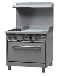"Black Diamond Range with Griddle, natural gas, 36"", (2) 12"" x 12"" 30,000 BTU top burners, removable cast iron top grates, individual pilot lights & controls, (1) standard oven, 150°F to 550°F temperature range, (1) adjustable racks per oven, backriser with shelf, removal crumb tray, griddle 24""W x 21""D cook top, 3/4"" thick griddle plate, stainless steel, 6"" adjustable legs, 3/4"" NPT, 130,000 BTU, cETLus, ETL-Sanitation (contact factory for price)"