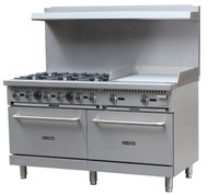 "Black Diamond Range with Griddle, natural gas, 60"", (6) 12"" x 12"" 30,000 BTU top burners, removable cast iron top grates, individual pilot lights & controls, (2) standard ovens, 150°F to 550°F temperature range, (2) adjustable racks per oven, backriser with shelf, removal crumb tray, griddle 24""W x 21""D cook top, 3/4"" thick griddle plate, stainless steel, 6"" adjustable legs, 3/4"" NPT, 280,000 BTU, cETLus, ETL-Sanitation"