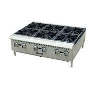 "Black Diamond Hotplate, countertop, 36"" wide, (6) manual cast iron burner controls, (2) stainless steel drip trays, stainless steel front and sides, adjustable legs, includes tips for field conversion to LPG, 150,000 BTU, 3/4"" rear NPT, cETLus, ETL"