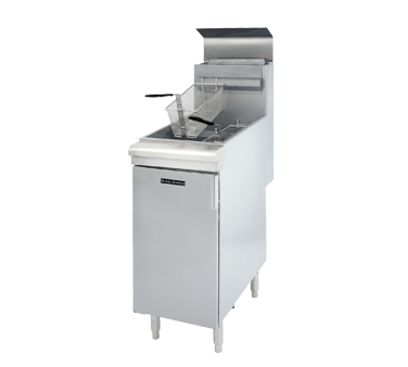Black Diamond Fryer, floor standing, natural gas, 45-50 lbs. capacity, thermostatically controlled, automatic shut off, stainless steel tank, includes (2) baskets, built-in integrated flue deflector, stainless steel front & door with galvanized sides & back, adjustable legs, 120,000 BTU, cETLus, ETL-Sanitation