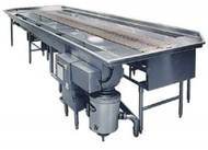 "SIMILAR SYSTEM REPRESENTED/ Southern Engineering Soiled dish conveyor with 12"" wide slat belt with the following features: 16' Long Soiled Dish Conveyor, 4' Drop Off Area with Sight and Sound Barrier, 6' Scraping Trough Terminated into a Scrap, Disposal Sink, Welded Disposer Collar in Sink, 8' Sloped Rack Shelf, 2 Each Trough Water Nozzles. Duke Manufacturing MODEL SDSC10AW"