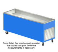 "Duke Salad Bar, 88""L, 24-1/2""W, 36""H, 20ga stainless steel top, 5"" deep stainless steel mechanical assist ice pan, 82"" x 20"" opening, 1"" brass drain & plug, removable stainless steel grille on end, 20ga paint grip steel body, 5"" dia. swivel casters (2 with brakes), 6' cord & plug"