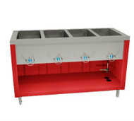 "50 Hz AeroServ Hot Food Unit, electric, 74""W x 24-1/2""D x 36""H, 20/300 series stainless steel top, (5) 12"" x 20"" stainless steel sealed heat wells, copper manifold drains, (1) brass valve, infinite switch for each well, channeled edges, stainless steel body & undershelf, 6"" stainless steel legs with adjustable feet, cULus, UL EPH   (E304 PICTURED)"