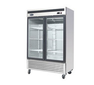 Refrigerator Merchandiser, two-section, self-contained refrigeration, 47.1 cu. ft. capacity, 33° to 45°F temperature range, (2) locking hinged glass doors, (8) adjustable shelves, ventilated refrigeration, LED interior lighting, automatic evaporation, digital temperature control, air defrost, stainless steel interior & exterior, galvanized steel back, bottom mounted refrigeration, 400 watts, 115v/60/1-ph, 4.3 amps, 1/3 HP, cETLus, ETL, CE, ENERGY STAR®