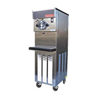 Soft Serve/Yogurt Freezer, floor model, air or water cooled, self-contained refrigeration, 1 head, 20 qt. mix capacity, welded steel frame, stainless steel exterior, electronic consistency control, automatic audible/visual mix out system, 1 HP dasher, 2 HP compressor, casters included, UL, cUL, NSF