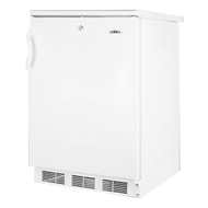 Undercounter Refrigerator, single-section, freestanding, 5.5 cu. ft. capacity reversible door with shelf storage, front-mounted lock, adjustable wire shelves & thermostat, automatic defrost, interior light, plastic handle, white cabinet & door finish, 115v/60/1, cord, UL