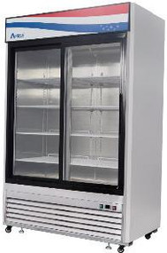 Refrigerator Merchandiser, two-section, self-contained refrigeration, 45.0 cu. ft. capacity, 33° to 45°F temperature range, (2) self closing sliding glass doors, (6) adjustable shelves, ventilated refrigeration, LED interior lighting, automatic evaporation, digital temperature control, air defrost, stainless steel interior & exterior, galvanized steel back, bottom mounted refrigeration, 400 watts, 115v/60/1-ph, 4.3 amps, 1/2 HP, cETLus, ETL, CE