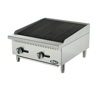 "Heavy Duty Char Rock Charbroiler, gas, countertop, 24"", (2) stainless steel burners, standby pilots, stainless steel radiant plates, cast iron grill, independent manual controls, adjustable multi-level top grates, stainless steel structure, adjustable stainless steel legs, 70,000 BTU, cETLus, ETL"