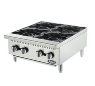 "Heavy Duty Hotplate, gas, counter model, 24"", (4) 25,000 BTU burners, standby pilots, cast iron grates, independent manual controls, stainless steel structure, adjustable stainless steel legs, 100,000 BTU, cETLus, ETL"