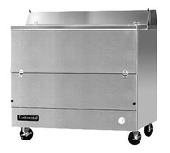 "Designer Line Milk Cooler, 49"" long, single access, forced air cooling, (12) 13"" x 13"" x 11"" or (8) 19"" x 13"" x 11"" crate cap., stainless steel interior & exterior, (4) locking swivel casters, 1/3 hp"