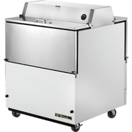 "Mobile Milk Cooler, FORCED-AIR, (8) crates, DUAL SIDED stainless steel drop front/hold-open flip-up lids, locks, 33-38°F, white vinyl exterior, stainless steel interior & floor, (2) heavy duty floor racks, digital thermometer, 4"" castors, 1/3 HP, 115v/60/1, 6.7 amps, 9' cord, NEMA 5-15P, cULus, MADE IN USA"