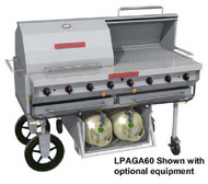 "Magicater AGA Approved Transportable Gas Grill, 60"", stainless steel front, sides, back & service shelf, stainless steel construction, stainless steel radiants, water tubs, heavy duty cooking grids, stainless steel legs with 6""casters, complete gas system, spark ignitor, (2) 40 pound tanks in removable tank cart"