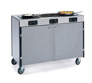 "Creation Express™ Station Mobile Cooking Cart, 48"" x 22"" x 35-1/2""H, temperature range 90° - 440°F, LED control panel, (3) induction heat stove, without filtration system, stainless steel top, stainless steel interior with laminated exterior, interior shelf, with doors, 5"" swivel No-Mark® polyurethane casters (2) with brakes, ETL"