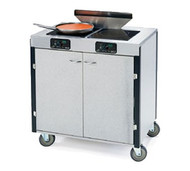 "MODEL 2075 Creation Express™ Station Mobile Cooking Cart, 34"" x 22"" x 40-1/2""H, temperature range 90° - 440°F, LED control panel, (2) induction heat stove, (1) down draft filtration system, stainless steel top, stainless steel interior with laminated exterior, with doors, 5"" swivel No-Mark® polyurethane casters (2) with brakes, ETL"