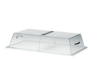 "Display Cover, 12""W x 18""D x 4""H, rectangular with center hinge, flat top, clear acrylic"