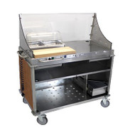 "Mobile Demo/ Sampling Cart, large, full size buffet server, open cabinet base, (1) storage drawer, (2) plating drawers, (3) storage shelves, removable stainless & polycarbonate sneeze guard, (2) 2 1/2""D half size steam pans, (1) stainless pan holder, (1) polycarbonate rolltop lid, (1) 22"" maple cutting board, stainless steel construction, side handles, Flame Soapstone Red laminate panels, rubber bumpers, (4) casters (2 with brakes, 2 with directional locks), 120v/60/1-ph, 2.5 amp, 0.3 kW, NEMA 5-15P, UL EPH"