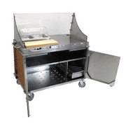 "Mobile Demo/ Sampling Cart, large, full size buffet server, (2) solid locking doors, (1) storage drawer, (2) plating drawers, (3) storage shelves, removable stainless & polycarbonate sneeze guard, (2) 2 1/2""D half size steam pans, (1) stainless pan holder, (1) polycarbonate rolltop lid, (1) 22"" maple cutting board, stainless steel construction, side handles, Flame Soapstone Red laminate panels, rubber bumpers, (4) casters (2 with brakes, 2 with directional locks), 120v/60/1-ph, 2.5 amp, 0.3 kW, NEMA 5-15P, UL EPH"