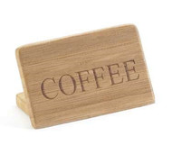"Beverage Sign, 3""W x 2""H,""COFFEE"", bamboo finish, BPA Free"