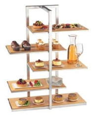 "One by One Display Server Shelf, 5-tier, 28-1/2""W x 13-1/2""D x 36-1/2""H, staggered/offset design, removable rectangular shelving, black frame stand, bamboo shelves. SILVER FRAME SHOWN"