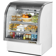"Curved Glass Deli Case, 36-1/4""L, service type, self-contained refrigeration, gravity coil 55% RH, envir. 75°F, (2) adjustable white wire shelves, LED interior lights, sliding ""Low-E"" thermal glass rear doors, white aluminum sides & top interior,, white exterior, stainless steel floor with coved corners, 1/3 HP, 115v/60/1, 12.0 amps, NEMA 5-15P, 9' cord, cULus, UL EPH Classified, MADE IN USA"