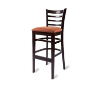 Bar Stool, armless, ladder back, upholstered seat, European beech wood frame, footrest, COM/grade 6 uph.
