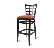 Bar Stool, armless, window back, upholstered seat, European beech wood frame, footrest, COM/grade 6 uph.