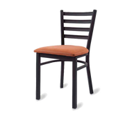 Side Chair, ladder back, upholstered seat, welded metal frame, black powder coat finish, COM/grade 6 uph.