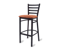 Bar Stool, armless, ladder back, upholstered seat, welded metal frame, footrest, black powder coat finish, COM/grade 6 uph.