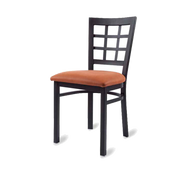 Side Chair, window back, upholstered seat, welded metal frame, black powder coat finish, grade COM/grade 6 uph.