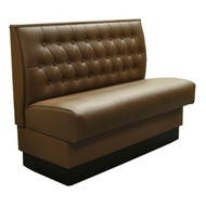 "Booth, single, 45""L x 36""H, upholstered diamond back, upholstered seat, 2"" thick foam seat, finished outside back, plywood & solid wood frame, black vinyl kick base, grade 5 uph."