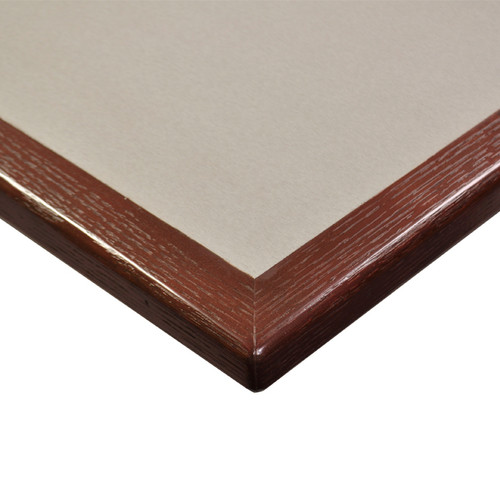 "Table Top, square, 36"" x 36"", laminate surface, bullnose oak wood edge, 1-1/8"" core of industrial grade particle board, Standard Wilsonart Laminate"