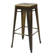 Marseille Industrial Bar Stool, backless, steel seat, steel frame, footrest, antique copper finish