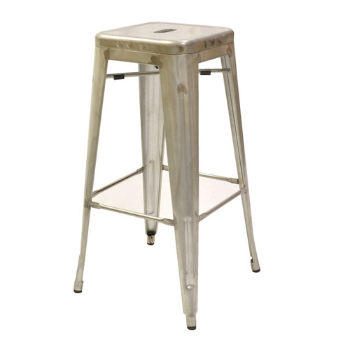 Marseille Industrial Bar Stool, backless, steel seat, steel frame, footrest, galvanized finish
