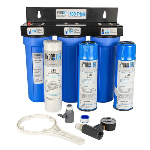 "300-Triple Series Water Filter System, 15,000 gallons (57,781 liters) capacity, KDF® triple water processing, removes or reduces heavy limescale/chlorine/lead/algae & slime/bad taste & odor/bacteria, 100° F max temperature, includes: (2) 52645 cartridge & (1) 52646 cartridge, prefilter, bracket, o-ring, pressure gauge & shut off valve, 20-100 PSI, 2.5 GPM, 1/2"" female NPT (for ice machines & steamers), NSF"