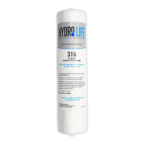 310-High Flow Water Filter Replacement Cartridge, KDF® triple water processing, removes or reduces sediment, 100° F max temperature, polypropylene, 25 micron, 20-100 PSI, 10 GPM (for model 52643), NSF (priced per each, packed 6 each per case)