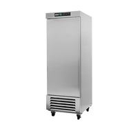 """Freezer, reach-in, one-section, 23 cu. ft., (1) solid door, digital controller, (3) adjustable epoxy coated shelves, incandescent interior lighting, CFC polyurethane insulation, maintain temperature at -10°, environmentally friendly R404A refrigerant, bottom mounted compressor, self closing doors with 90° stay, magnetic door gasket, stainless steel floor, interior and exterior, galvanized back panel, 4"""" swivel casters (2 with brakes), 3/4 HP, cETLus, ETL-Sanitation, Made in North America"""