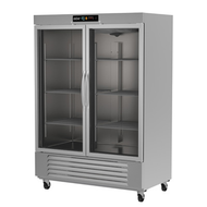 """Refrigerator, reach-in, two-section, 49 cu. ft., (2) glass doors, digital controller, (6) adjustable epoxy coated shelves, incandescent interior lighting, CFC polyurethane insulation, temperature from 33° to 38°, environmentally friendly R134A refrigerant, bottom mounted compressor, self closing doors with 90° stay, magnetic door gasket, stainless steel floor, interior and exterior, galvanized back panel, 4"""" swivel casters (2 with brakes), 1/3 HP, cETLus, ETL-Sanitation, Made in North America"""
