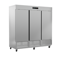 """Refrigerator, reach-in, three-section, 72 cu. ft., (3) solid doors, digital controller, (9) adjustable epoxy coated shelves, incandescent interior lighting, CFC polyurethane insulation, temperature from 33° to 38°, environmentally friendly R134A refrigerant, bottom mounted compressor, self closing doors with 90° stay, magnetic door gasket, stainless steel floor, interior and exterior, galvanized back panel, 4"""" swivel casters (3 with brakes), 3/4 HP, cETLus, ETL-Sanitation, Made in North America"""