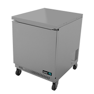 """Undercounter Refrigerator, 27"""" wide, one-section, 6.1 cu. ft., (1) solid door, (2) adjustable epoxy coated shelves, CFC polyurethane insulation, temperature from 33° to 38°, environmentally friendly R134A refrigerant, front breathing, self-contained refrigeration, magnetic door gasket, stainless steel interior and exterior, galvanized back panel, 4"""" swivel casters (2 with brakes), 1/6 HP, cETLus, ETL-Sanitation, Made in North America"""