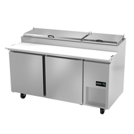 """Pizza Prep Table, 67-1/4"""" wide, (2) solid doors, (4) shelves on rail system, includes (9) standard full set of 1/6 size pans (4"""" deep), insulated lid, 19"""" removable/reversible white poly cutting board, CFC polyurethane insulation, temperature from 33° to 38°, environmentally friendly R134A refrigerant, front breathing, self-contained refrigeration, magnetic door gasket, stainless steel interior and exterior, galvanized back panel, 4"""" swivel casters (2 with brakes), 1/3 HP, cETLus, ETL-Sanitation, Made in North America"""