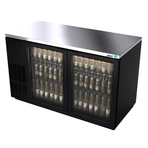 """Back Bar Cooler, 69-1/2"""", two-section, (2) glass doors, (1,014) 12 oz can capacity, (4) adjustable coated wire shelves, analog thermostat, fluorescent interior light, CFC polyurethane insulation, temperature from 33° to 38°, environmentally friendly R134A refrigerant, front breathing/side mount compressor, self-contained refrigeration, magnetic door gasket, stainless steel top, black vinyl exterior, galvanized interior with stainless steel floor, 1/3 HP, cETLus, ETL-Sanitation, Made in North America"""