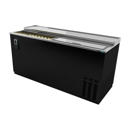 """Bottle Cooler, 65-1/2"""", (2) sliding lids, (890) 12 oz can or (360) 12 oz bottle capacity, analog thermostat, adjustable epoxy coated bin dividers, removable cap opener & cap catcher, CFC polyurethane insulation, temperature from 28° to 38°, environmentally friendly R134A refrigerant, front breathing/side mount compressor, self-contained refrigeration, stainless steel top, black vinyl exterior, galvanized interior, 1/3 HP, cETLus, ETL-Sanitation, Made in North America"""