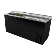 "Bottle Cooler, 65-1/2"", (2) sliding lids, (890) 12 oz can or (360) 12 oz bottle capacity, analog thermostat, adjustable epoxy coated bin dividers, removable cap opener & cap catcher, CFC polyurethane insulation, temperature from 28° to 38°, environmentally friendly R134A refrigerant, front breathing/side mount compressor, self-contained refrigeration, stainless steel top, black vinyl exterior, galvanized interior, 1/3 HP, cETLus, ETL-Sanitation, Made in North America"