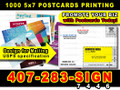 1000 Full Color 5x7 Postcards 2 sides 14 Point Card Stock