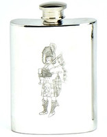 Pewter Hip Flask - Engraved Piper, 4 oz