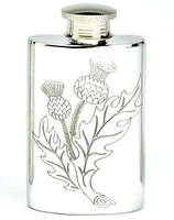 Pewter Hip Flask - Thistle Engraved, 2 oz