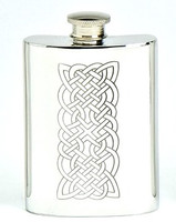 Pewter Hip Flask - Celtic Panel Engraved, 4 oz