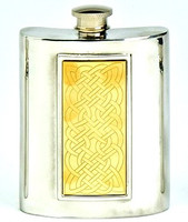 Pewter Hip Flask - Brass Celtic Panel, 6 oz